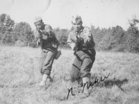 Pfc. Nobuo Nihei & S.Kunishige 10-13-42 Camp McCoy Wis.  [Courtesy of Ruth Kunishige]