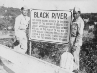 Kunio Fujimoto & Henry Shiyama on their tour on 10-4-42. Black River.  [Courtesy of Ruth Kunishige]