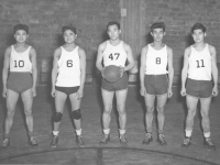 442nd Basketball team, Conrad Kurahara at far left. [Courtesy of Jane Kurahara]