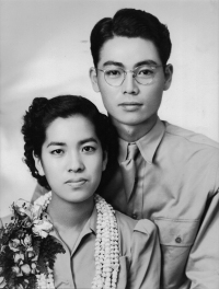 Kenneth and Mieko Muroshige on their wedding day, April 20, 1942.