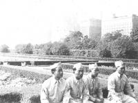 Grant's Park Chicago Masayoshi Miyagi, Kaneshiro, Goro & Joe. The background is lovely flowers. [Courtesy of Leslie Taniyama]