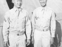 Taken in Camp McCoy July, 1943. Taken July 6, 1942. Sam Tomai and Masayoshi Miyagi. [Courtesy of Leslie Taniyama]