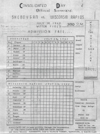 Baseball score card for July 19, 1942 game, Hawaiian Soldiers vs White Sox. (Club 100  files)