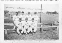 Pitching Staff on the Aloha Team. Standing (l-r): M. Okazaki, S. Tanigawa, M. Omori, D. Suzuki. Sitting (l-r) T. Mizusawa, G. Moriguchi, Matsunami [Courtesy of Sandy Tomai Erlandson]