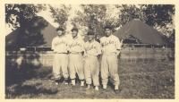 Company E boys on the Aloha Team; from l-r Johnny Yamada, Yozo Yamamoto, Mushy Miyagi, Henry Shiyama [Courtesy of Warren Yamamoto]