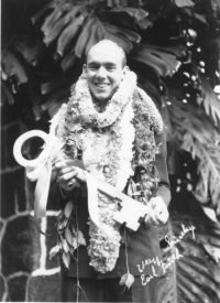 Earl Finch with a key to the city of Honolulu [442nd Regimental Combat Team Archives]