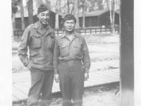 Moriso Teraoka with a fellow soldier at Camp Patrick Henry in Virginia, December 1945 (Courtesy of Moriso Teraoka)