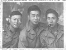 """Atushi Iwai, Moriso Teraoka and George """"Florida"""" Yoshida during the Po Valley campaign, Alessandria, Italy, 1945. Yoshida was called """"Florida"""" because his father had moved the family to that state and """"Florida"""" had a southern accent.   (Courtesy of Moriso Teraoka)"""