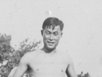 Eddie Mitsukado.  Eddie Mitsukao of our company-now changed.  Taken August 1942 at Old Camp McCoy area.  [Courtesy of Jan Nadamoto]