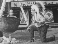 "Taken August 9, 1942 at Wisconsin Dells Park, Wis. Chief Blow Snake obligingly offered to ""cook"" Fred Kanemaru for supper.   (This goes to my photograph album too). All the others of sceneries & myself you folks may keep.)  But where I'm not int trhe picture and those of my friends only put in my album.  [Courtesy of Jan Nadamoto]"