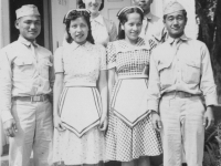 Taken August 9, 1942.  Two girls in middle are Indian girls.  They work in the restaurant right in back.  Their names are left to right:  Eunice White and Rosa Dixon (English names) pretty light complexion with a tinge of red (slightly).  [Courtesy of Jan Nadamoto]