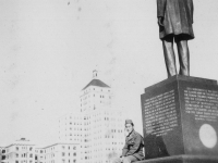 Fred Kanemura by Statue of Lincoln facing Milwaukee, Wis Sept. 1942.  [Courtesy of Jan Nadamoto]
