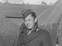 """""""Wopsy""""  Taken Sept. 24,  1942 at Old Camp McCoy, Wis.  Stanley Imamura of our platoon.  (Chef from Waialae).  [Courtesy of Jan Nadamoto]"""