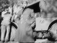 Taken Nov. 7, 1942 as soon as we arrived on the picnic grounds.  Back is me of the truck we came on.  [Courtesy of Jan Nadamoto]