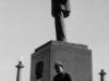 Taken Sept. 20, 1942 at Lake Front Park, Milwaukee.  Myself sitting on base of statue of Abraham Lincoln.  [Courtesy of Jan Nadamoto]