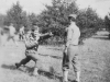Yukio Takehara  of our platoon going through the bayonet drill eagerly in action.  Taken Oct. 6, 1942 on drill field at New Camp McCoy, Wis.  [Courtesy of Jan Nadamoto]