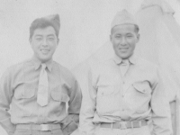"Camp McCoy.  July, 1942. Hi Sis  ""Always"" Dicky Camp McCoy Wis.  [Courtesy of Rocky Nakahara]"