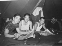 Night time in tent.  [Courtesy of Rocky Nakahara]