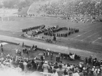 The N.D. is for Notre Dame. Was made by the band of U.of W.  I was sitting on the side of Notre Dame.  [Courtesy of Rocky Nakahara]