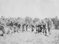This is in our 3rd Platoon.  The x you see is me.  Oct. 1942.  [Courtesy of Rocky Nakahara]