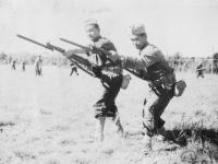 Left to Right:  Harold Higashi, L. Kimura. Oct. 1942.  [Courtesy of Rocky Nakahara]