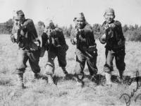 Left to right: James Mana, T. Takenouchi, Clark Ikehara, Y. Serizawa Oct. 1942.  [Courtesy of Rocky Nakahara]