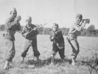 Left to right: Henry Shiyama, Ralph Uyeda, Yours truly, Sgt. Yamada.  [Courtesy of Rocky Nakahara]