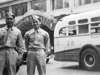 Ray Nosaka and Larry Amazaki on leave in front of Madison Square in New York City.   [Courtesy of Raymond Nosaka]