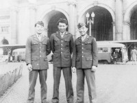 Taken in front of Union Station. Washington, D.C. Left to Right: Mochi Okazaki, Wally Onuma, Akira Akimoto [Courtesy of Wallace Onuma]