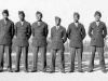 Headerquarters Co. Anti-Tank Platoon Oct 10, 1942. S/Sgt. Hirano - Palama  Honolulu, Pua Lane; Sgt. Kiyabu - Waipahu,Oahu; Cpt. Shimizu - Kilauea, Kauai; Pvt. Aoki - 2414 Pauoa Rd.; Pvt. Aimoto - 3118 Monsarrat; Pvt. Fukuji - 1335 Moi St.; P.F.C. Nakamura - Kealia, Kauai. [Courtesy of Wallace Onuma]