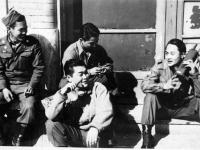 Left to right: Akinori Akizuki, Minoru Tamayore, Akira Hata, and Marcus Naito goof off during some downtime [Courtesy of Robert Arakaki]