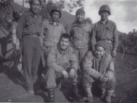 Group Photo. 1st Row, l-r: Robert Oda, James Horikoshi. 2nd Row, l-r: Edward Saito, Akiyoshi Kuriyama, Stanley Hamamura - Civitacecchia, Italy [Courtesy of Fumie Hamamura]
