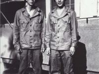 Headquarter Company. Sueo Noda and Stanley Hamamura, Camp Shelby, Miss. Spring 1943 [Courtesy of Fumie Hamamura]