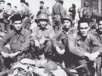 l-r: Hidenobu Hiyane, Stanley Hamamura,  Lawrence Iwamoto,  Seiji Kimura, Oshita, On Day we Arrived in Marseille, France 1944 [Courtesy of Fumie Hamamura]