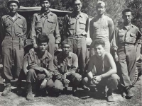 1st Row, l-r: Hidenobu Hiyane, Howard Yamamoto, Lawrence Iwamoto. 2nd Row, l-r: Stanley Hamamura, Noboru Taki,  Seiji Kimura,  Richard Hamada, Itsuo Kagiwara, Civitavecchia -1944 [Courtesy of Fumie Hamamura]