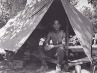 Stanley Hamamura in Pup Tent, Vada, Italy '44 [Courtesy of Fumie Hamamura]