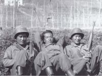 Hidenobu Hiyane, Itsuo Kajiwara, and Stanley Hamamura - After TAking Part In Firing Range[Courtesy of Fumie Hamamura]