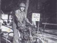 Borrowed Bicycle for couple C rations - Leghorn, Italy 1944. [Courtesy of Fumie Hamamura]