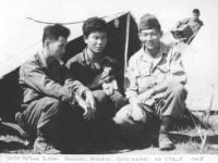 Stanley Hamamura With Tatsuo Suzuki - Tamotsu Higuchi - Gedi Airport. No. Italy 1945 [Courtesy of Fumie Hamamura]