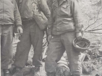 Col. Jack Conley, Chaplain Yost and Capt. Kometani. [Courtesy of Fumie Hamamura]