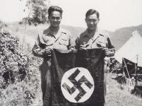 Anzai and Sakurada with Nazi Flag. [Courtesy of Fumie Hamamura]