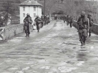 Soldiers Marching Down Italian Road. [Courtesy of Fumie Hamamura]
