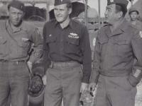 Chipman, Corbin, and Kometani in Ghedi, Italy, 1945. [Courtesy of Fumie Hamamura]