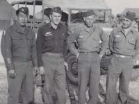Officers Kometani, Corbin, Chipman, and Demaiolo in Ghedi, Italy, 1945. [Courtesy of Fumie Hamamura]