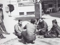 Soldiers taking a break at Headquarters in Italy. [Courtesy of Fumie Hamamura]