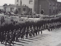 Soldiers practice marching for a parade in Novi Lingure, Italy, 1945. [Courtesy of Fumie Hamamura]