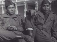 Higuchi and Taki in Italy, 1945. [Courtesy of Fumie Hamamura]