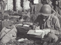 Stanley Hamamura writing home from Italy, 1945. [Courtesy of Fumie Hamamura]