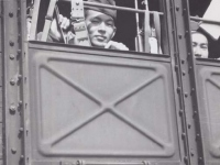 Soldiers take the cattle car to Naples on the journey home, June 1945. [Courtesy of Fumie Hamamura]