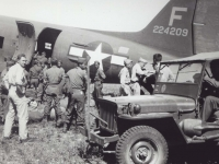 Soldiers get ready to board C-47 plane in Puerto Rico. [Courtesy of Fumie Hamamura]